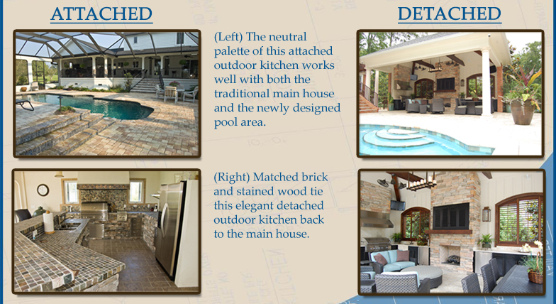 The neutral palette of this attached outdoor kitchen works well with both the traditional main house and the newly designed pool area. Matched brick and stained wood tie this elegant detached outdoor kitchen ack to the main house.